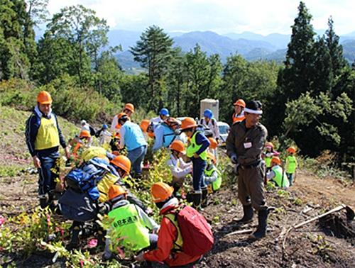 飯豊町で苗木を植樹する参加者