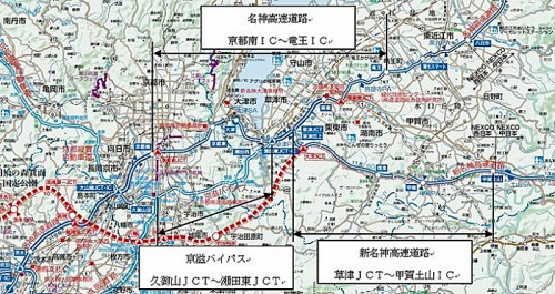 20150102meishin 500x265 - 名神等/積雪で通行止め、放置・立ち往生車両を3か所で移動