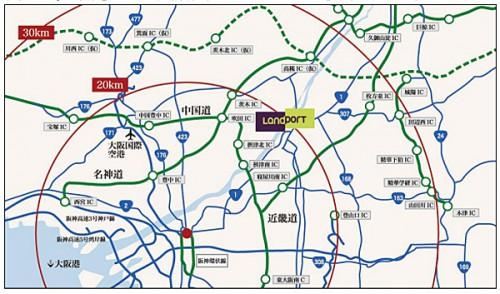 「(仮称)Landport 高槻」位置図
