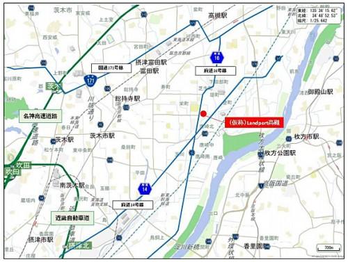 「(仮称)Landport 高槻」詳細地図