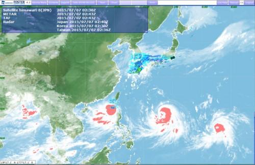 運航支援コンテンツ「FOSTER-NEXTGEN」7/7の積乱雲発生エリア台風9号・10号・11号の雨雲の中で、特に積乱雲が発達しているエリアを赤色でアラート表示