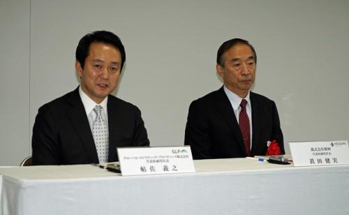 GLPの帖佐義之社長(左)と興伸の眞田健実社長