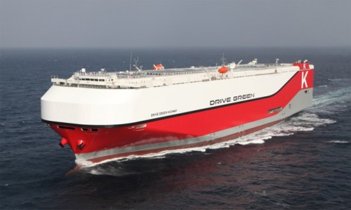 20160212kawasakik 500x299 - 川崎汽船/横浜国際客船ターミナルに7500台積み自動車運搬船着岸