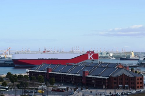 20160216kawasakik 500x333 - 川崎汽船/7500台積み自動車運搬船、横浜港大さん橋でお披露目