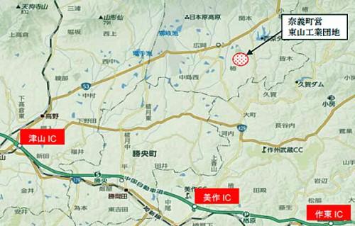 岡山県奈義町の東山工業団地位置
