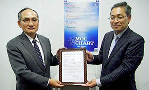 DNV GL 清水 卓氏首席検査員(右)から認定証を受領するMOLマリン 平塚 惣一社長(左)