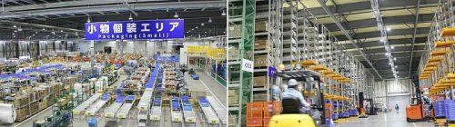 小山工場内の補給部品センター内の(左)、センター内の高層ラック(右)