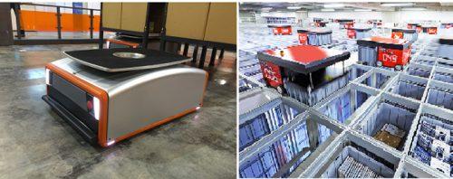 GROUNDの自動搬送ロボット「Butler(バトラー)システム」(左)と 岡村製作所のロボットストレージシステム「AutoStore(オートストア)」