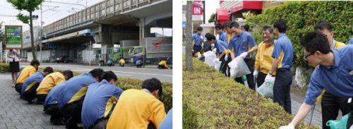 福山通運社員と協力してゴミを拾う西濃運輸社員