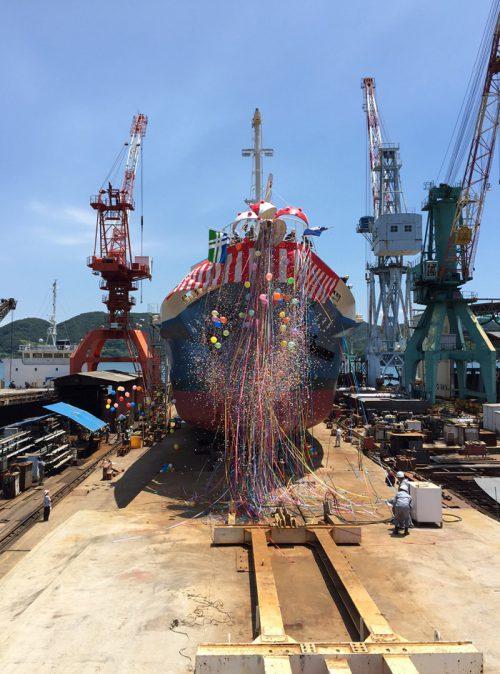 20160706imoto1 500x674 - 井本商運/コンテナ専用船進水、東日本航路に就航する予定