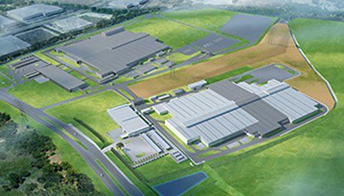 完成予想図(左上:トランスミッション工場、右下:エンジン工場)