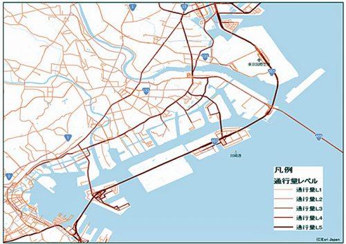 京浜エリアの特大車走行実績の地図表示サンプル(2016年4月 全時間帯集計結果)