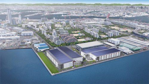 南港DC1、2の完成予想パース。青い屋根の右側がDC1、左側がDC2