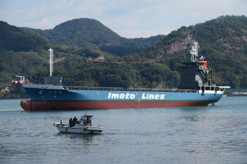 20161104imoto2 500x333 - 井本商運/9年ぶりに499G/T型船を進水、最大40本の冷凍コンテナ輸送