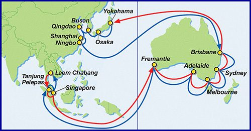 Asia Australia Expressサービスの概要ローテーション(所要日数:84日)横浜 - 大阪 - 釜山 - 青島 - 上海 - 寧波 - ブリスベン - シドニー - メルボルン - アデレード - フレマントル - タンジュンペラパス - シンガポール - レムチャバン - タンジュンペラパス - シンガポール - フレマントル - アデレード - メルボルン - シドニー - ブリスベン - 横浜