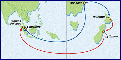 NZ2サービスの概要 シドニーを寄稿地に追加。ローテーション(所要日数:42日)タンジュンペラパス - シンガポール - シドニー - ウェリントン - ネイピア - オークランド - タンジュンペラパス
