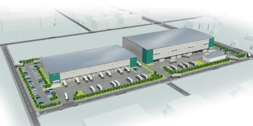 「プロロジスパークつくば」完成イメージ ドックシェルター付き冷凍冷蔵倉庫(左)、危険物倉庫併設(右)の場合のモデルプラン