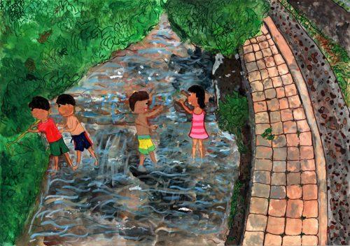 環境大臣賞高学年の部 兵庫県 室 結子(6年生、女子)「住吉川で遊ぶ子ども」