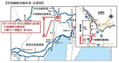 中部横断自動車道 位置図