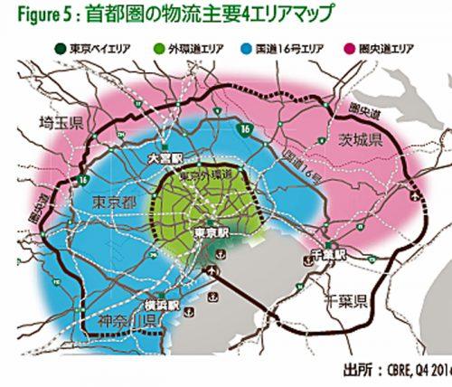 首都圏の物流主要4エリアマップ