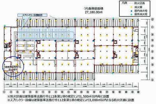 1階平面図(消火栓・消火器・防火区画)