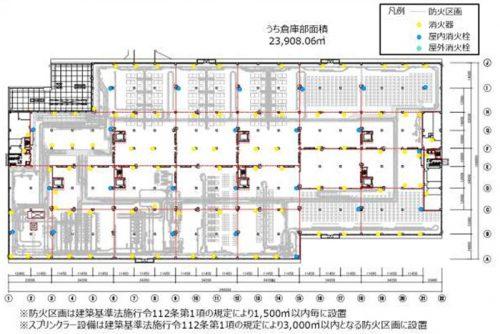 2階平面図(消火栓・消火器・防火区画)