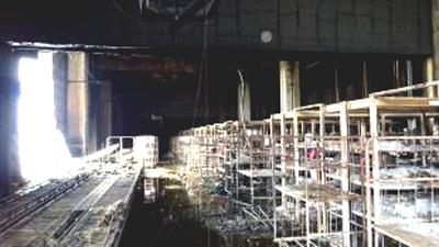 20170321asukul8 - アスクル/火災の倉庫1階部分、ほぼ焼損なし