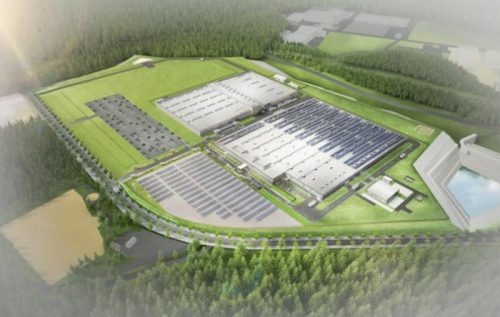 新工場完成後のデンソー福島の全体イメージ(左上:新工場)