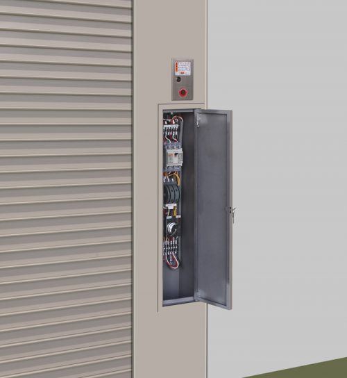 電源切替盤を内蔵したシャッター(特許を共同申請中)