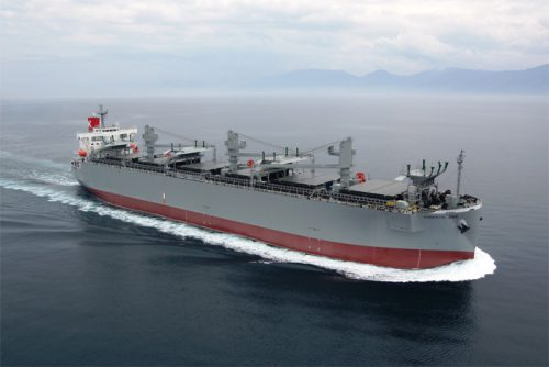 20170524kawasakik 500x334 - 川崎汽船/360万CFT型木材チップ専用船竣工
