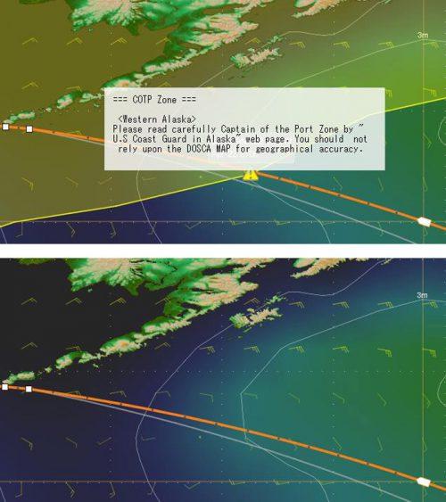 新たな「Capt.`s DOSCA with Hazard Map」(上)と従来の「Capt.`s DOSCA」(下)