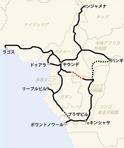 対象地域地図(点線部分は未舗装区間、赤色点線部分の一部が本事業対象)