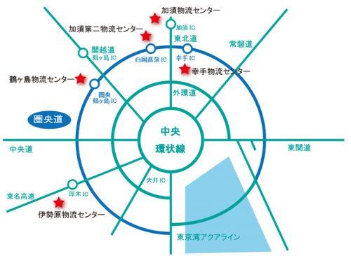 圏央道沿いのヨコレイの物流センター配置図