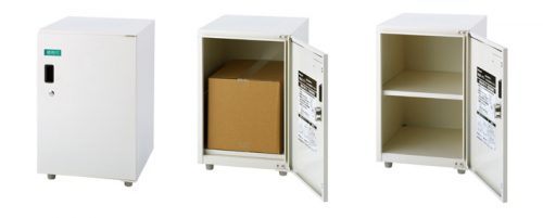 1枚扉タイプ:閉じた時・棚板不使用時・棚板使用時
