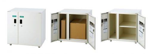 2枚扉タイプ:閉じた時・棚板不使用時・棚板使用時