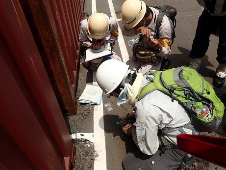 神戸港のコンテナヤードでの環境省調査