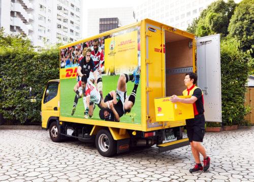 ラグビーワールドカップ2019特別ペイント車での集配業務