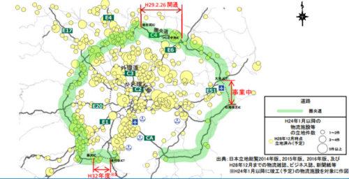 2012年1月以降の首都圏での大型物流施設等の立地状況