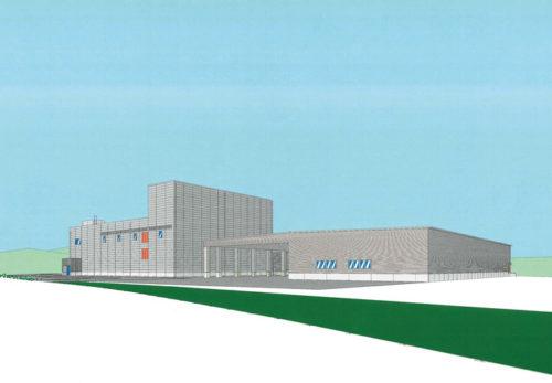完成イメージ図 左側の建物が現在の富山工場で、その隣に物流センターを建設