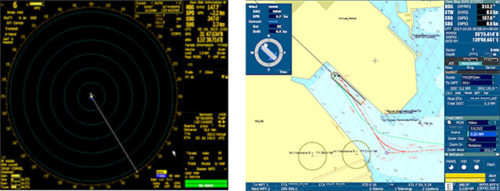 船橋で表示されるレーダーと電子海図のイメージ