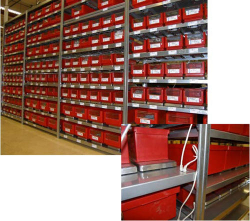 SmartShelfを使った在庫棚の例と通信接続部