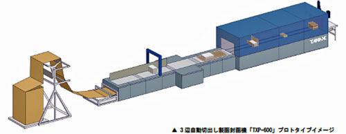 3辺自動切出し製函封函機「TXP-600」プロトタイプイメージ