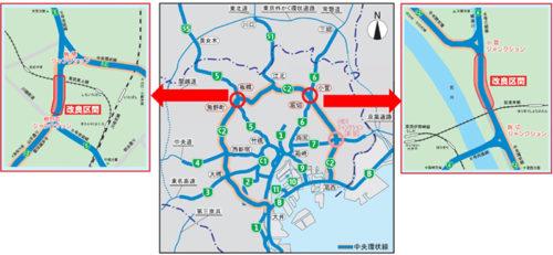 4車線化の位置図