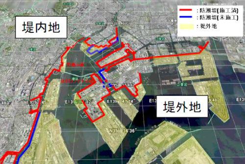 東京港における堤外地