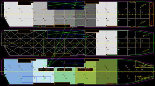 FLEXIEシリーズの多様なデッキ構成に対応したリフタブルデッキプランの画面イメージ デッキの高さに応じて背景色を変えることで、視認性が向上