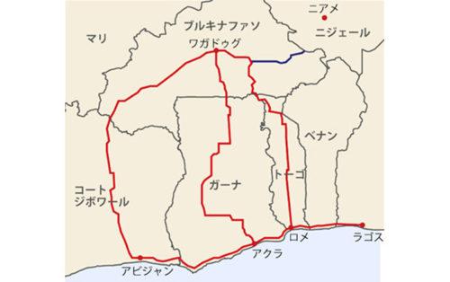 対象地域地図(赤色線部分が西アフリカ成長リング回廊、青色線部分の一部が本事業対象)