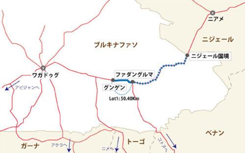 対象区間地図(青色線のうち実線部分が本事業対象区間)
