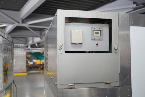 現在は上部に設けられている蓄冷版冷却機スペースだが、今後下部に移し、庫内の有効活用を図る