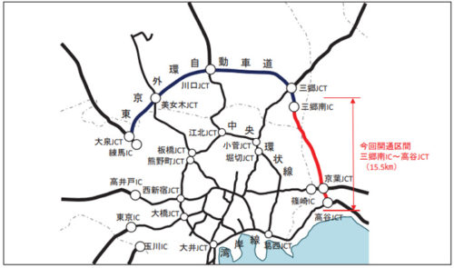 外環道(三郷南IC~高谷JCT)開通概要図