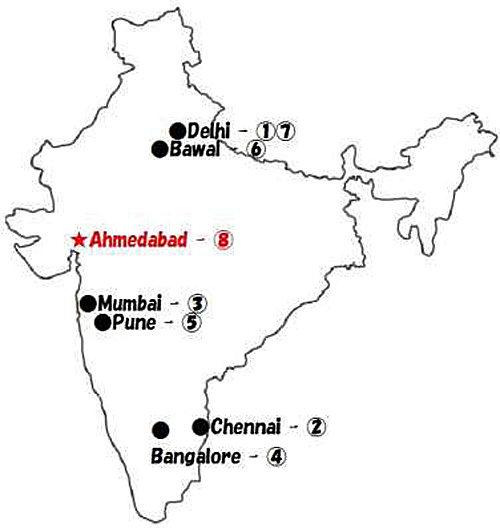 インド国内8拠点